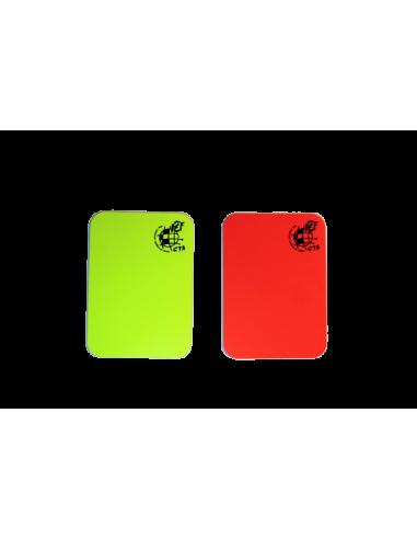 Tarjetas amarilla y roja CTA flúor